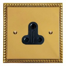 Regency Lighting Socket Round Pin 5A Polished Brass Lacquered & Black Trim
