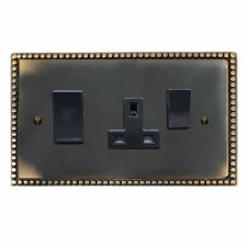 Regency Socket & Cooker Switch Dark Antique Relief