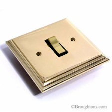 Edwardian Rocker Switch 1 Gang Polished Brass Unlacquered