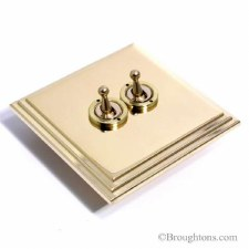Edwardian Dolly Switch 2 Gang Polished Brass Unlacquered