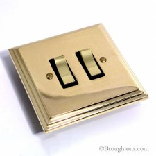 Edwardian Rocker Switch 2 Gang Polished Brass Unlacquered