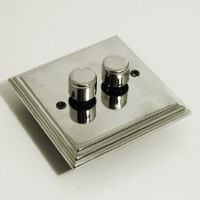 Edwardian Dimmer Switch 2 Gang Polished Nickel