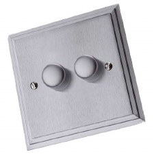 Edwardian Dimmer Switch 2 Gang Satin Chrome