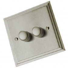 Edwardian Dimmer Switch 2 Gang Satin Nickel
