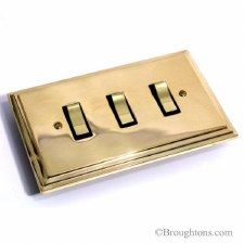 Edwardian Rocker Switch 3 Gang Polished Brass Unlacquered
