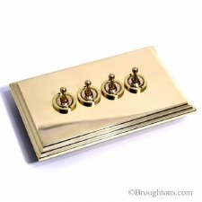 Edwardian Dolly Switch 4 Gang Polished Brass Unlacquered