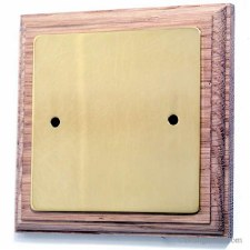 Victorian 1 Gang Blank Plate on Wooden Pattress Polished Brass