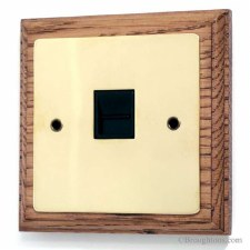 Victorian Master Phone Socket on Wooden Pattress Polished Brass