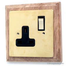 Victorian Plug Socket on Wooden Pattress Brass Switched