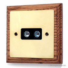 Victorian 2 Gang Aerial Socket on Wooden Pattress Polished Brass