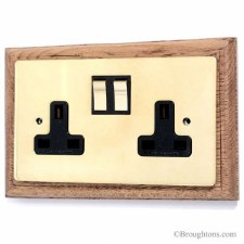 Victorian Double Plug Socket on Wooden Pattress Brass Switched