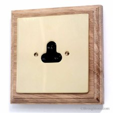 Victorian 5 Amp Plug Socket on Wooden Pattress Brass Unswitched