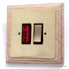 Victorian Switched Fused Neon on Wooden Pattress Polished Brass