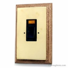 Victorian Vertical Cooker Switch on Wooden Pattress Polished Brass