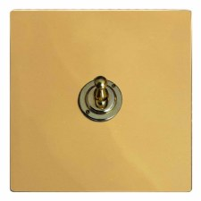 Victorian Dolly Switch 1 Gang Polished Brass Unlacquered