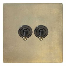 Victorian Dolly Switch 2 Gang Antique Satin Brass