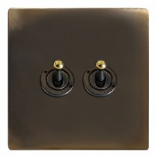 Victorian Dolly Switch 2 Gang Dark Antique Relief