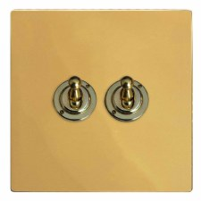Victorian Dolly Switch 2 Gang Polished Brass Lacquered