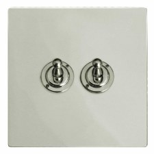 Victorian Dolly Switch 2 Gang Polished Nickel