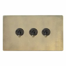 Victorian Dolly Switch 3 Gang Antique Satin Brass