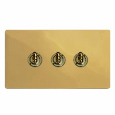 Victorian Dolly Switch 3 Gang Polished Brass Lacquered