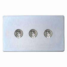 Victorian Dolly Switch 3 Gang Satin Chrome