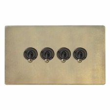 Victorian Dolly Switch 4 Gang Antique Satin Brass
