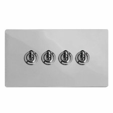Victorian Dolly Switch 4 Gang Polished Chrome