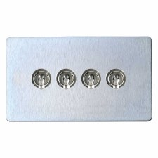 Victorian Dolly Switch 4 Gang Satin Chrome