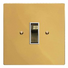 Victorian Rocker Light Switch 1 Gang Polished Brass Lacquered & White Trim