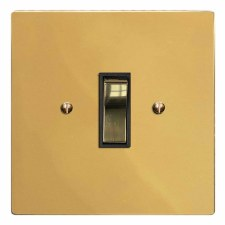 Victorian Rocker Light Switch 1 Gang Polished Brass Lacquered & Black Trim