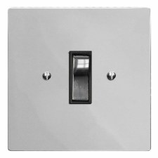 Victorian Rocker Light Switch 1 Gang Polished Chrome & Black Trim