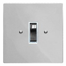 Victorian Rocker Light Switch 1 Gang Polished Chrome & White Trim