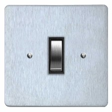 Victorian Rocker Light Switch 1 Gang Satin Chrome & Black Trim