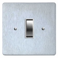 Victorian Rocker Switch 1 Gang Satin Chrome & White Trim