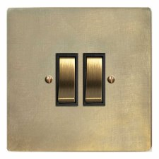 Victorian Rocker Light Switch 2 Gang Antique Satin Brass