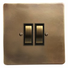 Victorian Rocker Light Switch 2 Gang Hand Aged Brass