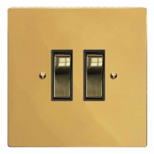 Victorian Rocker Light Switch 2 Gang Polished Brass Lacquered & Black Trim