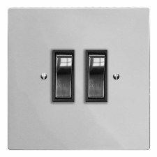 Victorian Rocker Light Switch 2 Gang Polished Chrome & Black Trim