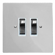 Victorian Rocker Light Switch 2 Gang Polished Chrome & White Trim