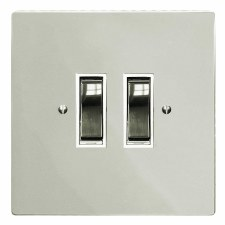 Victorian Rocker Light Switch 2 Gang Polished Nickel
