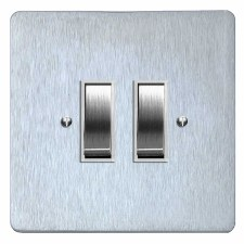 Victorian Rocker Light Switch 2 Gang Satin Chrome & White Trim