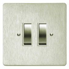 Victorian Rocker Light Switch 2 Gang Satin Nickel