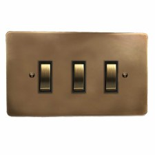Victorian Rocker Light Switch 3 Gang Hand Aged Brass