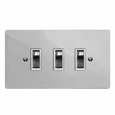 Victorian Rocker Light Switch 3 Gang Polished Chrome & White Trim