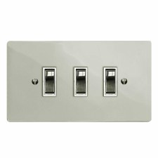 Victorian Rocker Light Switch 3 Gang Polished Nickel