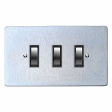 Victorian Rocker Light Switch 3 Gang Satin Chrome & Black Trim