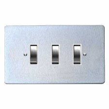 Victorian Rocker Light Switch 3 Gang Satin Chrome & White Trim