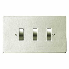 Victorian Rocker Light Switch 3 Gang Satin Nickel