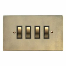 Victorian Rocker Light Switch 4 Gang Antique Satin Brass